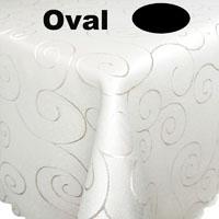 Ornamente Tischdecke Oval CREME-WEISS Pflegeleicht Bügelfrei