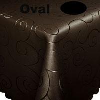 Ornamente Tischdecke Oval DUNKELBRAUN Pflegeleicht Bügelfrei
