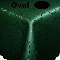 Ornamente Tischdecke Oval DUNKELGRÜN Dunkelgrün Bügelfrei