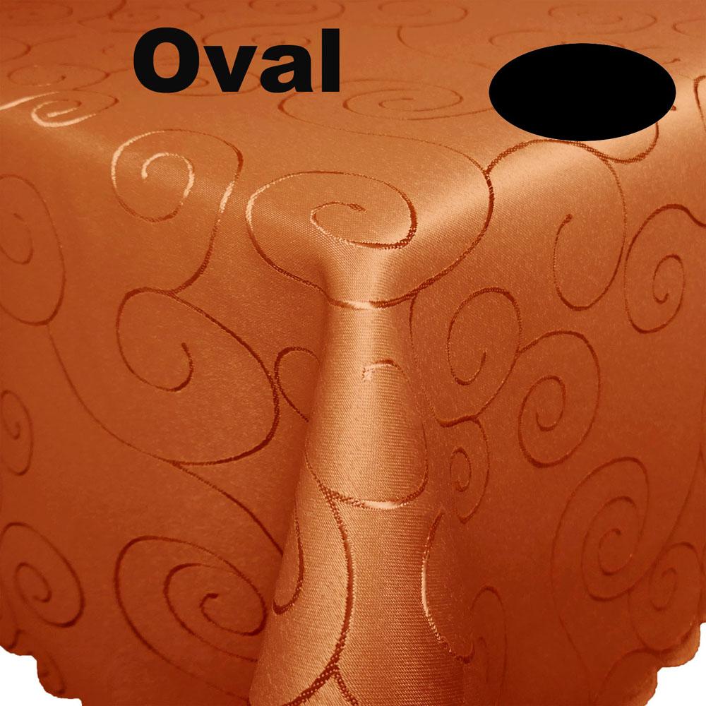 ORNAMENTE Tischdecke Oval DUNKEL-TERRA Terrakotta dunkel Bügelfrei