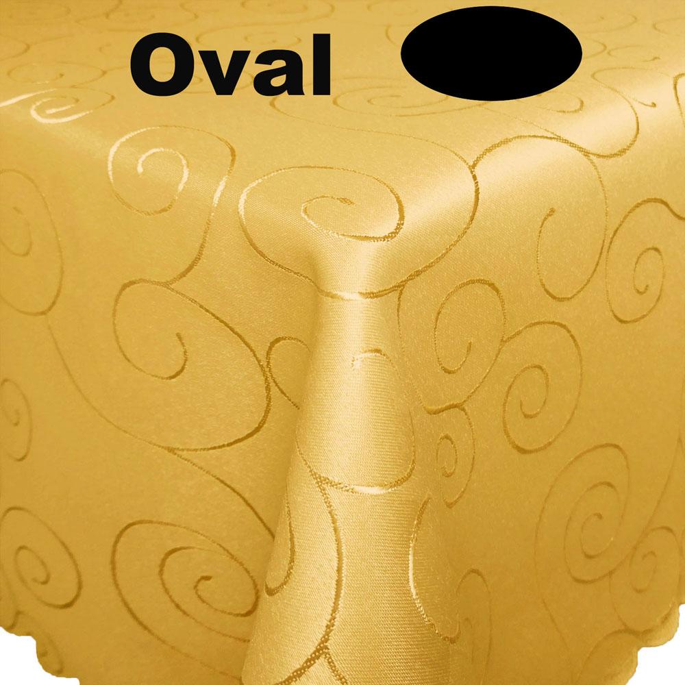 Ornamente Tischdecke Oval 135x180 GELB
