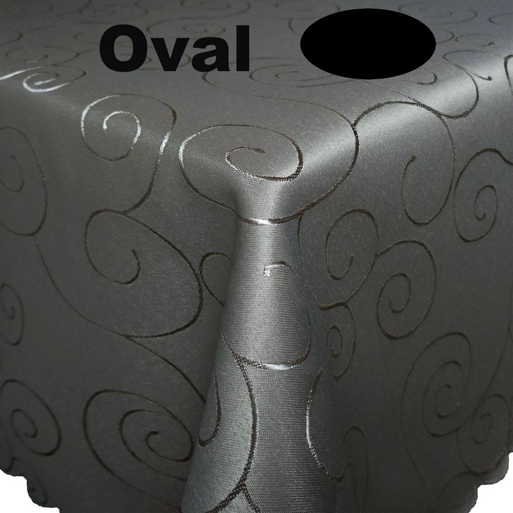Ornamente Tischdecke Oval GRAU Pflegeleicht Bügelfrei