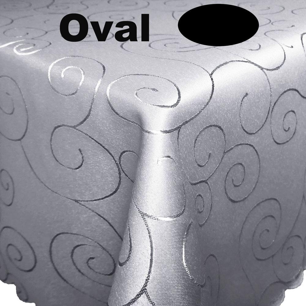 Ornamente Tischdecke Oval HELLGRAU  Pflegeleich Bügelfrei