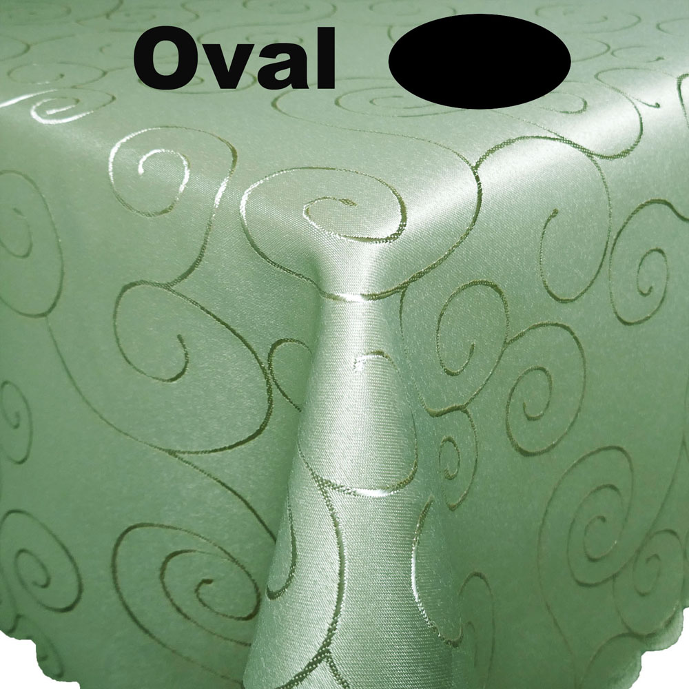 Ornamente Tischdecke Oval ANTIK-GRÜN Lindgrün Pflegeleicht Bügelfrei