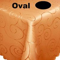 Ornamente Tischdecke Oval HELL-TERRA Terrakotta hell Bügelfrei