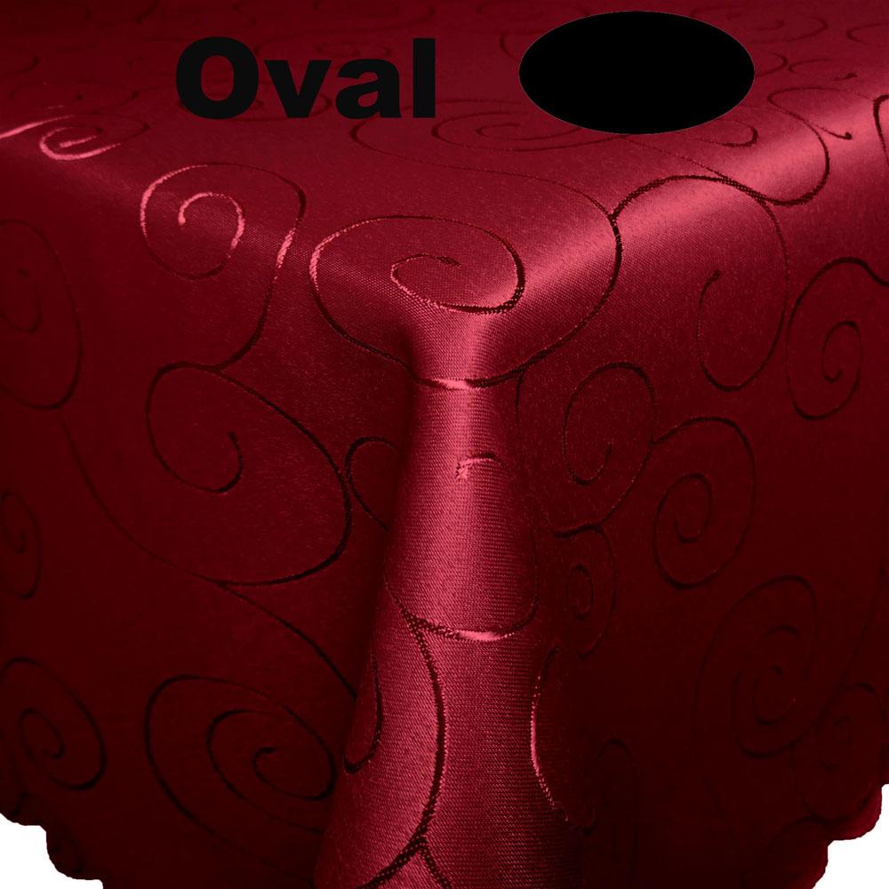Ornamente Tischdecke Oval WEINROT Pflegeleicht Bügelfrei