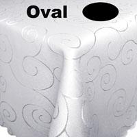 Ornamente Tischdecke Oval WEISS festlich Pflegeleicht Bügelfrei