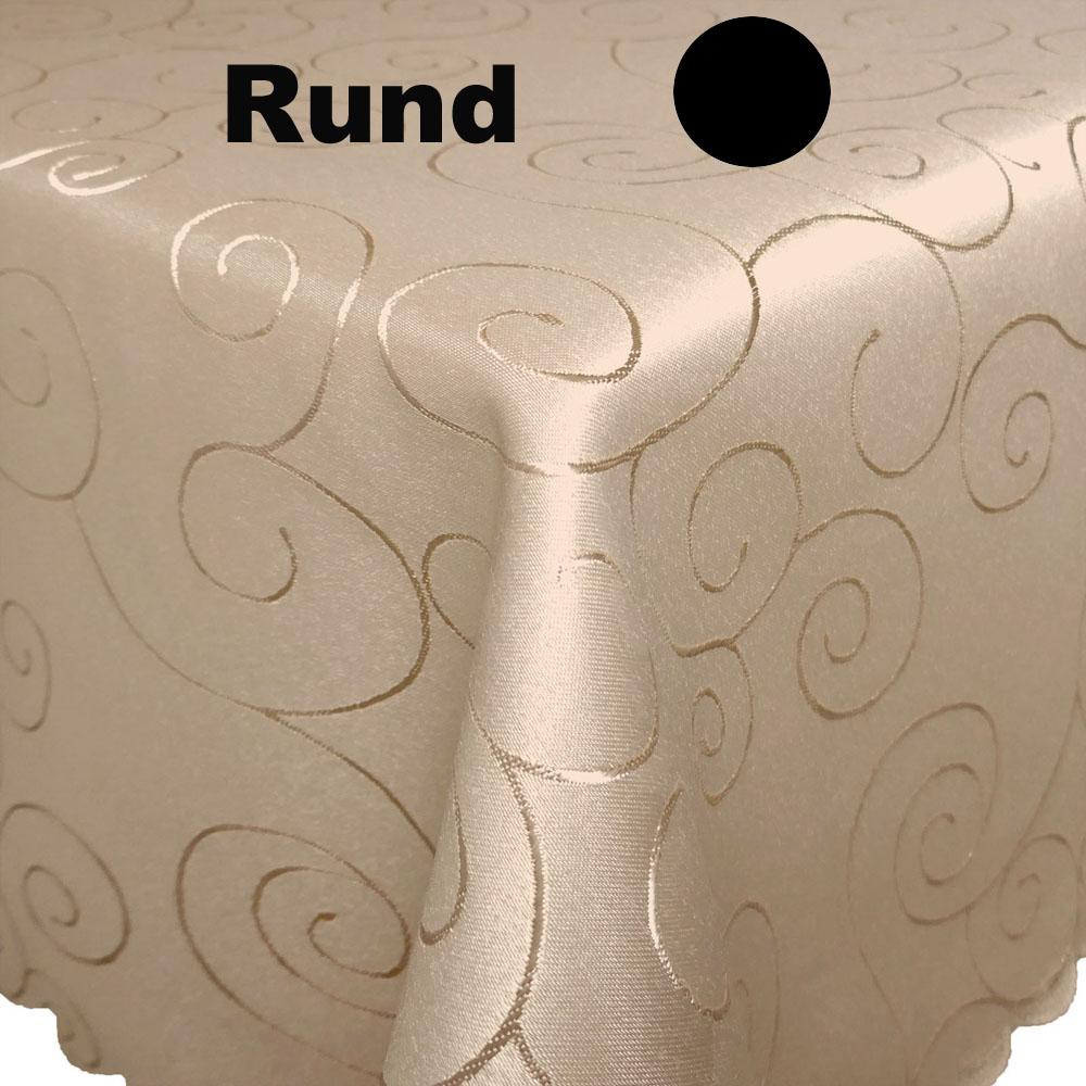 ORNAMENTE Tischdecke Rund  CREME-BEIGE Pflegeleicht Bügelfrei