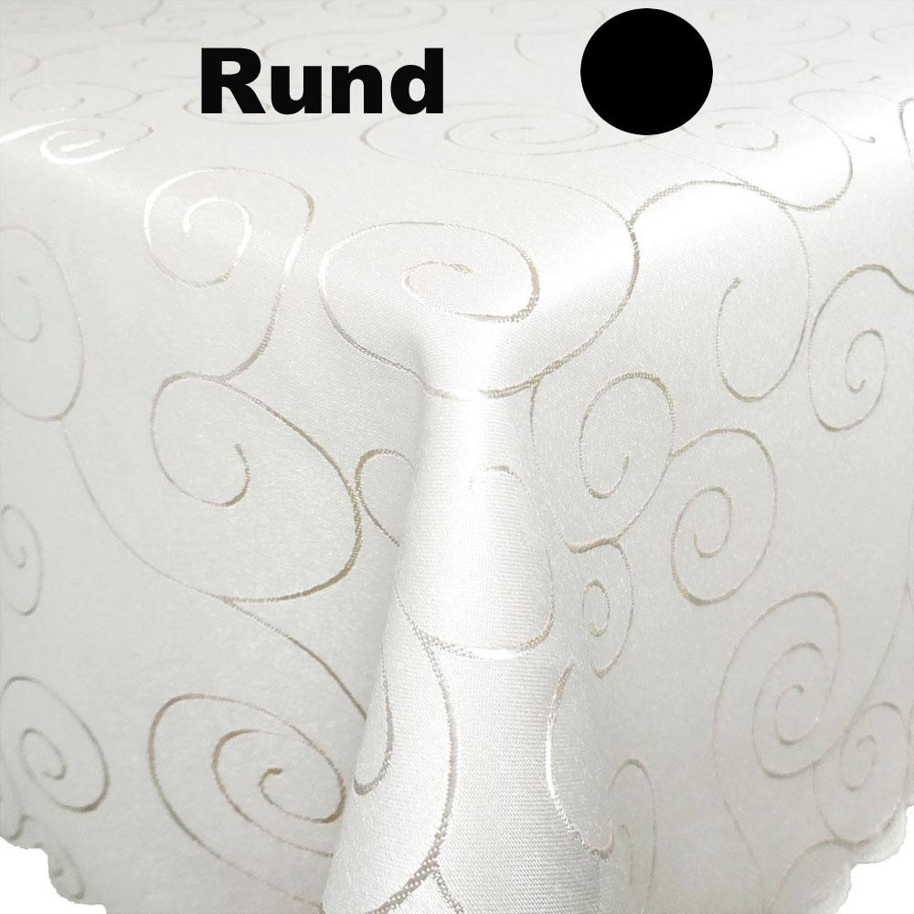 ORNAMENTE Tischdecke Rund CREME-WEISS Pflegeleicht Bügelfrei