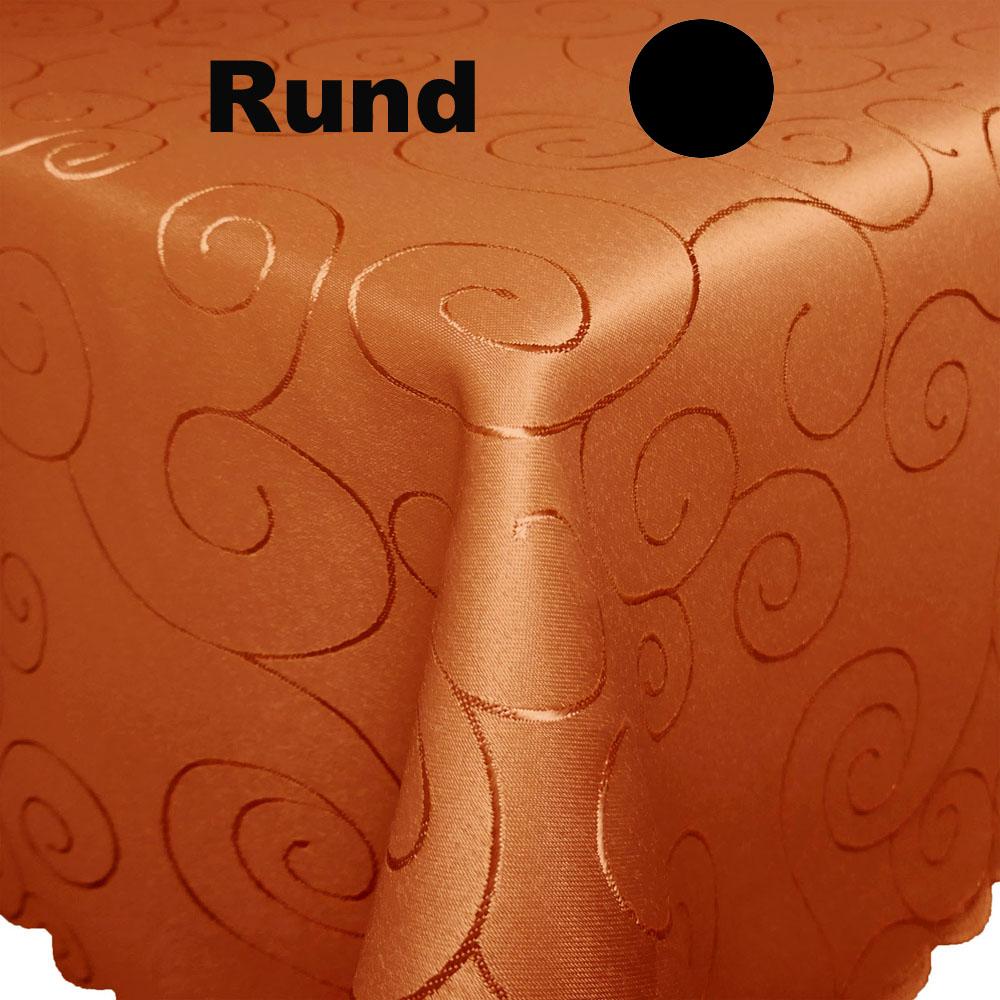 ORNAMENTE Tischdecke Rund DUNKEL-TERRA Terrakotta dunkel Bügelfrei