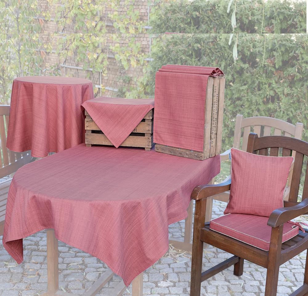 OUTDOOR Tischdecke ALTROSA Rund 145 cm Fleckschutz Abwischbar Garten Küche