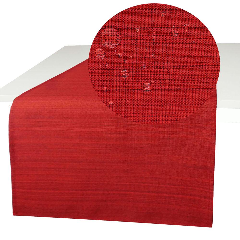 OUTDOOR Tischläufer ROT 40x140 cm Fleckschutz Abwischbar Garten Küche