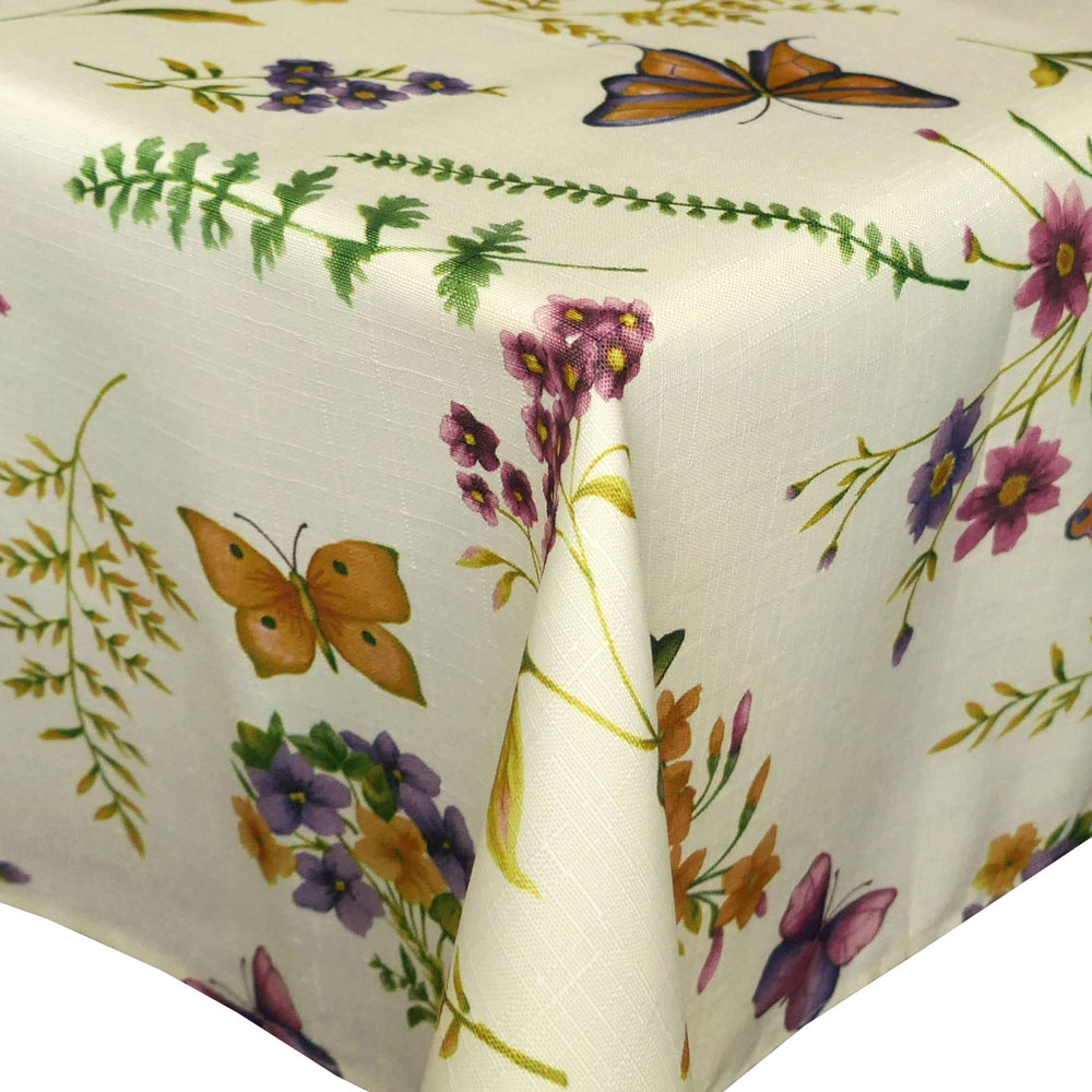 Tischdecke Schmetterling Leinen Struktur Tischdecke ECKIG Creme-Vanille Bunt