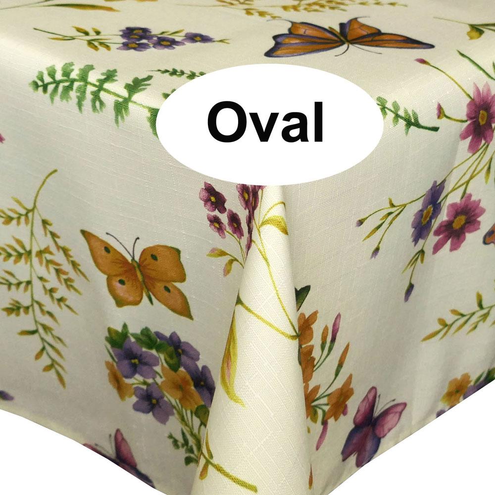 Schmetterling Leinen Struktur Tischdecke Oval 160x220 Creme-Vanille Bunt