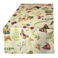 Schmetterling Leinen Struktur Tischläufer 40x140 Creme-Vanille Bunt