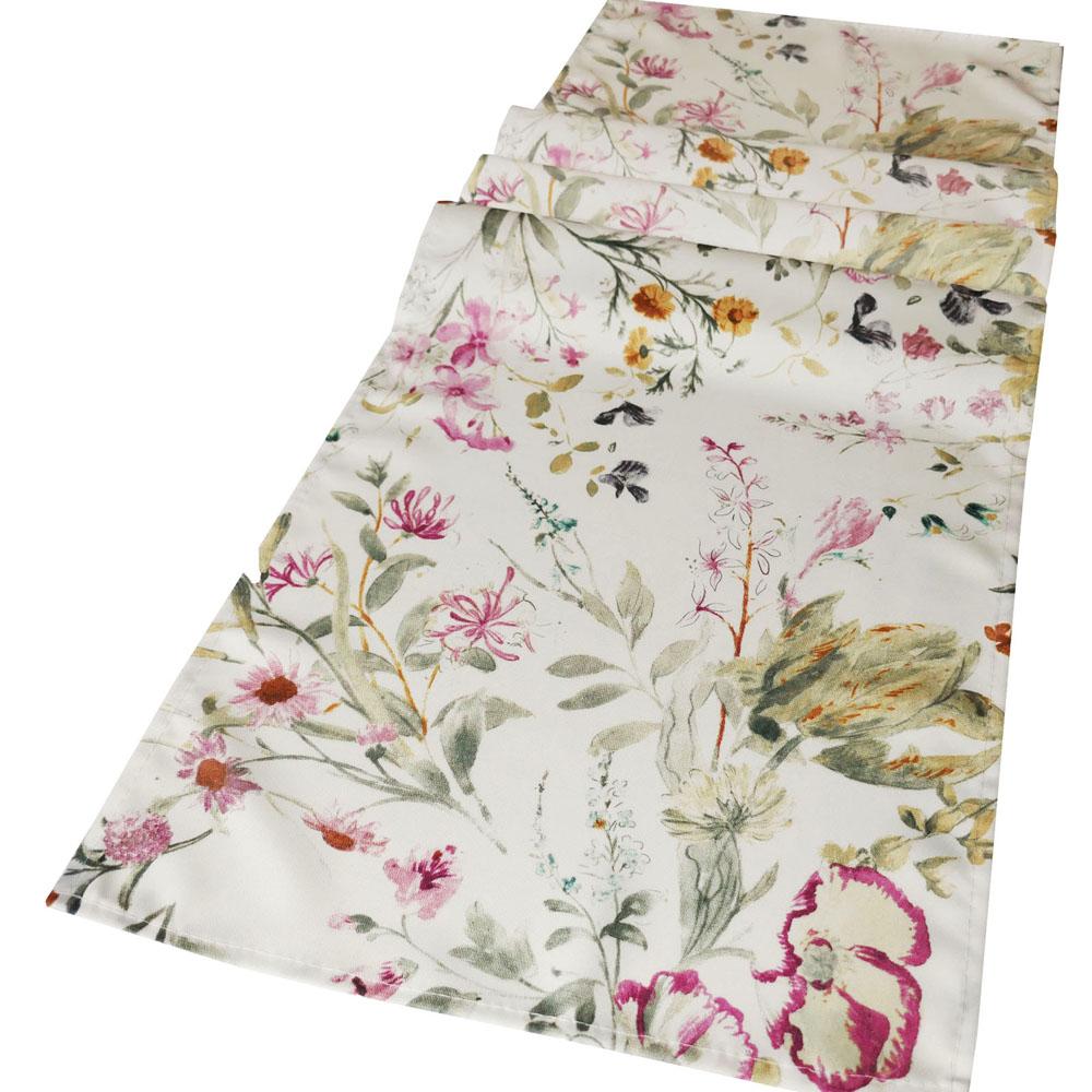 Romantik Blumen Tischläufer 40x140 cm Creme Altrosa