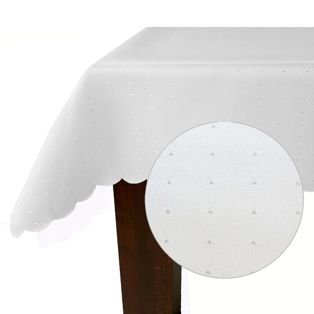 PUNKTE Rechteckig WEIß Tischdecke Damast Pflegeleicht festlich