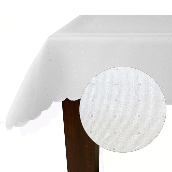 PUNKTE Eckig 90x90 WEISS Tischdecke Quadratisch Damast Pflegeleicht