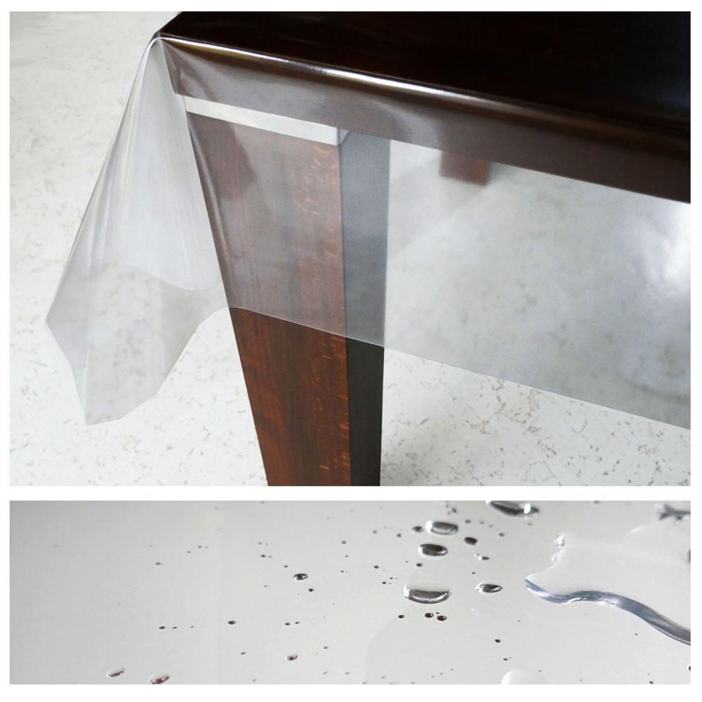 d c table transparent tischdecke 130 cm breite glasklar schutz lebensmittelecht ebay. Black Bedroom Furniture Sets. Home Design Ideas