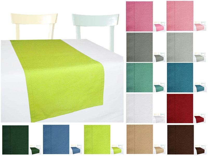 VENTURA Tischläufer Struktur Einfarbig Tischdeko Blau Grau Braun Grün
