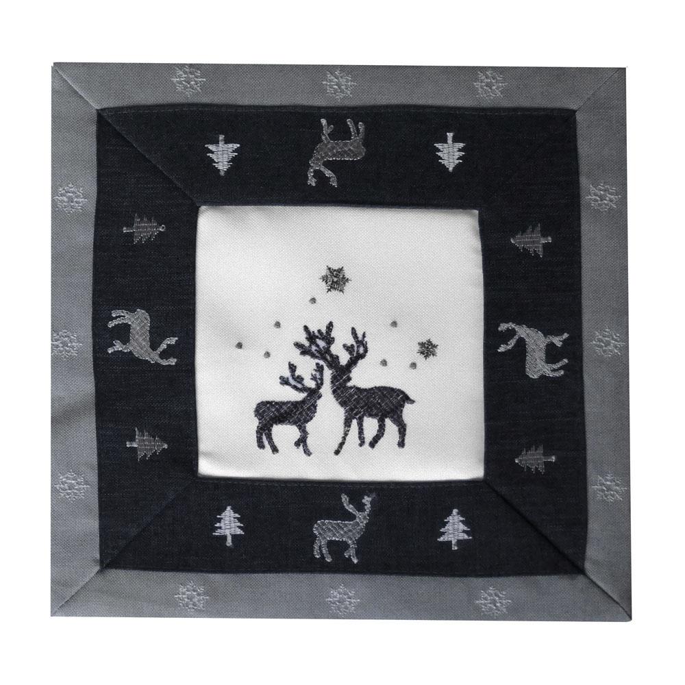 RENTIER Grau Weiß Aufleger 30x30 cm Weihnachten