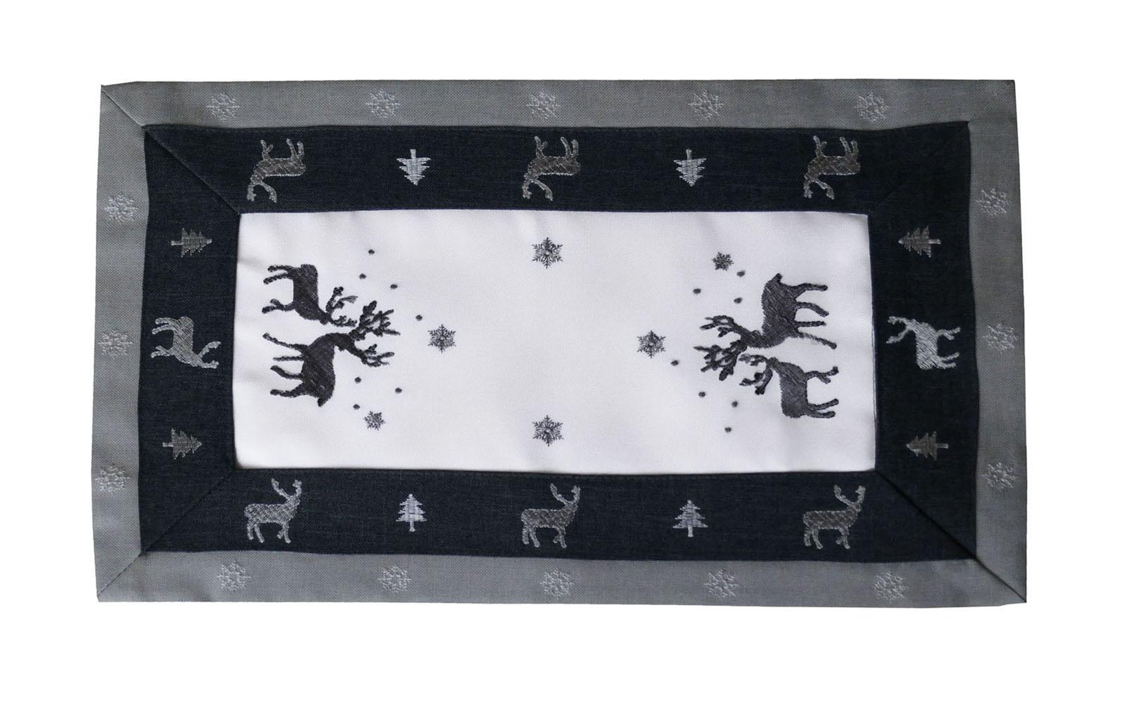 RENTIER Grau Weiß Aufleger 30x45 cm Leinenoptik Weihnachten