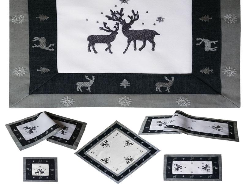 RENTIER Grau Weiß Tischläufer Mitteldecke Aufleger Weihnachten
