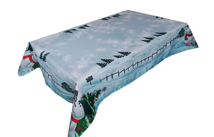 Schneemann Tischdecke Eckig 110x160 Eisblau Weihnachten