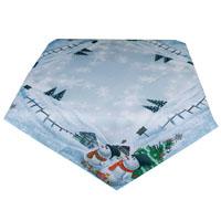 Schneemann Mitteldecke 85x85 Eisblau Weihnachten