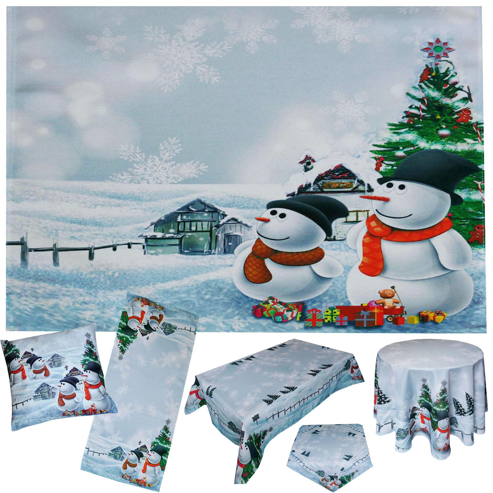 Schneemann Weihnachten Tischdecke Tischl Ufer Kissen