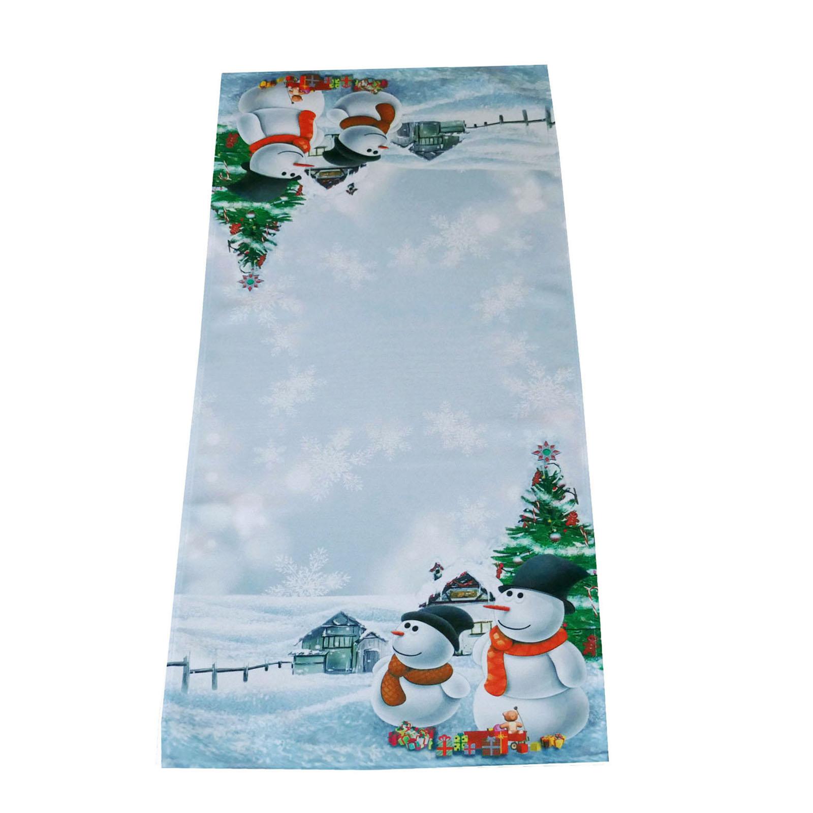 schneemann weihnachten tischdecke tischl ufer kissen schnee weihnachtsbaum ebay. Black Bedroom Furniture Sets. Home Design Ideas