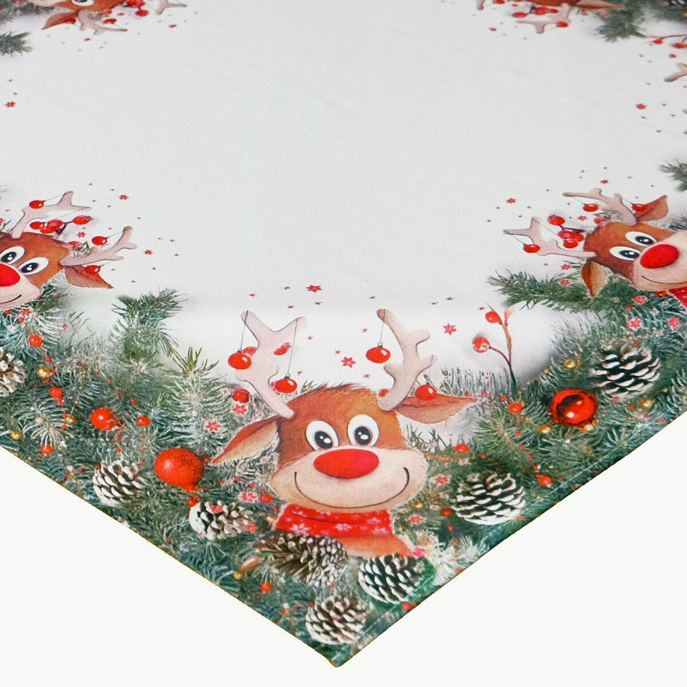 Weihnachten Rentier Rudolf ROTE NASE Mitteldecke 85x85 cm