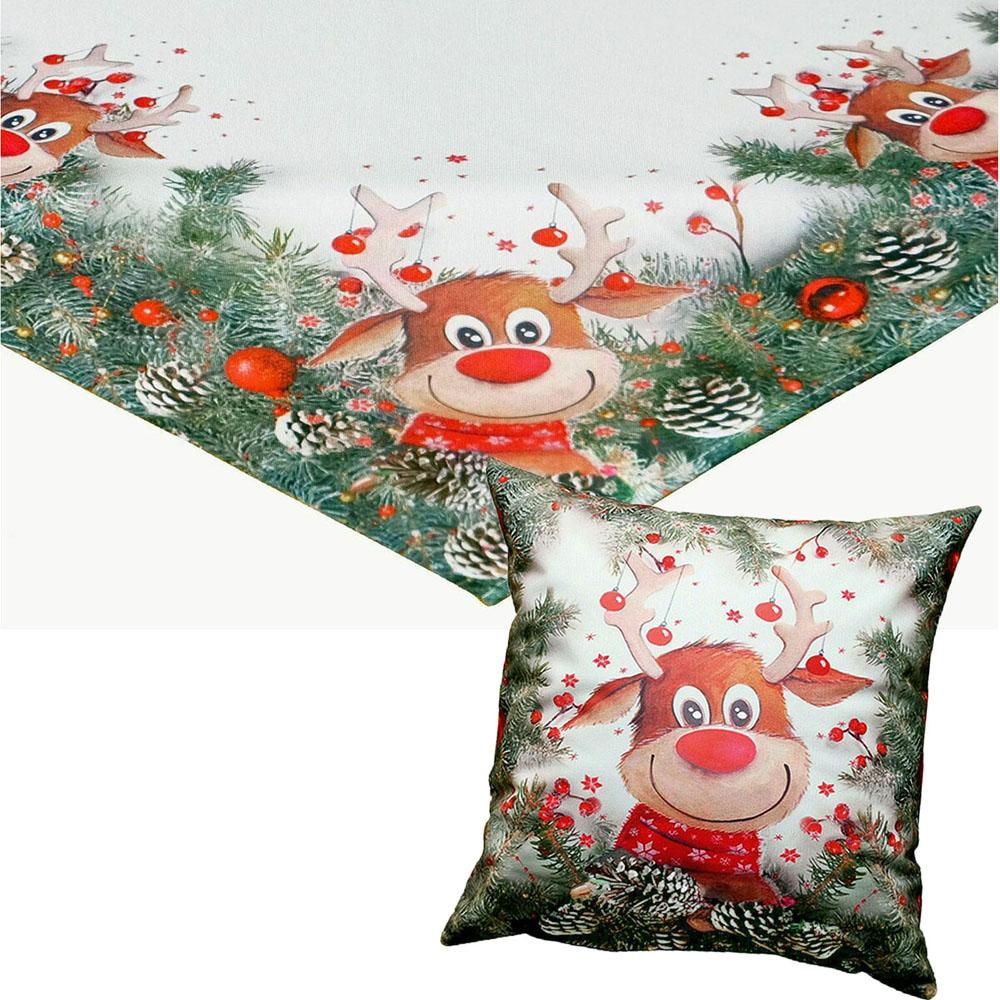ELCH mit roter Nase Mitteldecke Kissenhülle Weihnachten Rudolf Rentier
