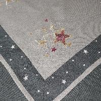 STERNE Borte Grau Mitteldecke 85x85 cm Leinenoptik Weihnachten
