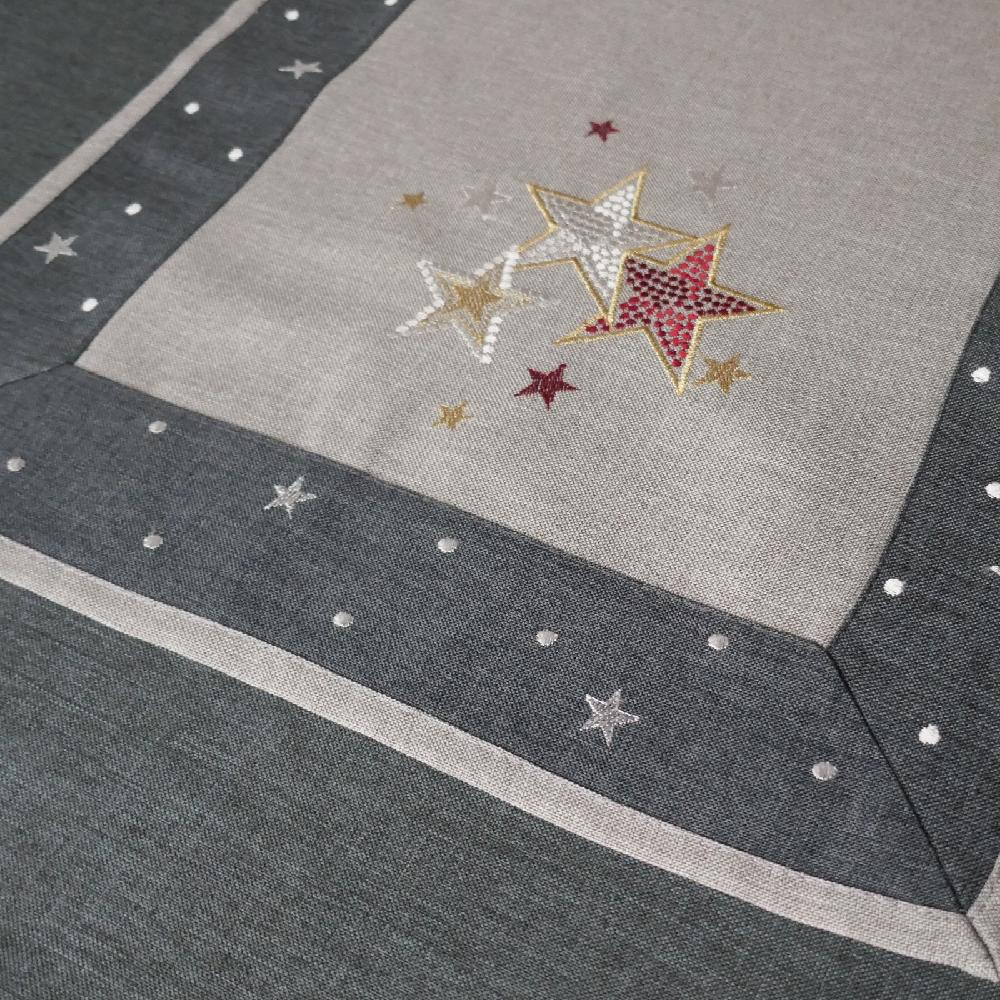 STERNE Borte Grau Tischläufer 40x160 cm Leinenoptik Weihnachten