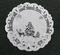 TANNENBAUM HIRSCH Rund 30 cm Tischdecke Weiss Grau Stickerei