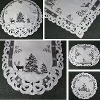 TANNENBAUM HIRSCH Weiß Grau Tischläufer Aufleger Tischdecke Stickerei