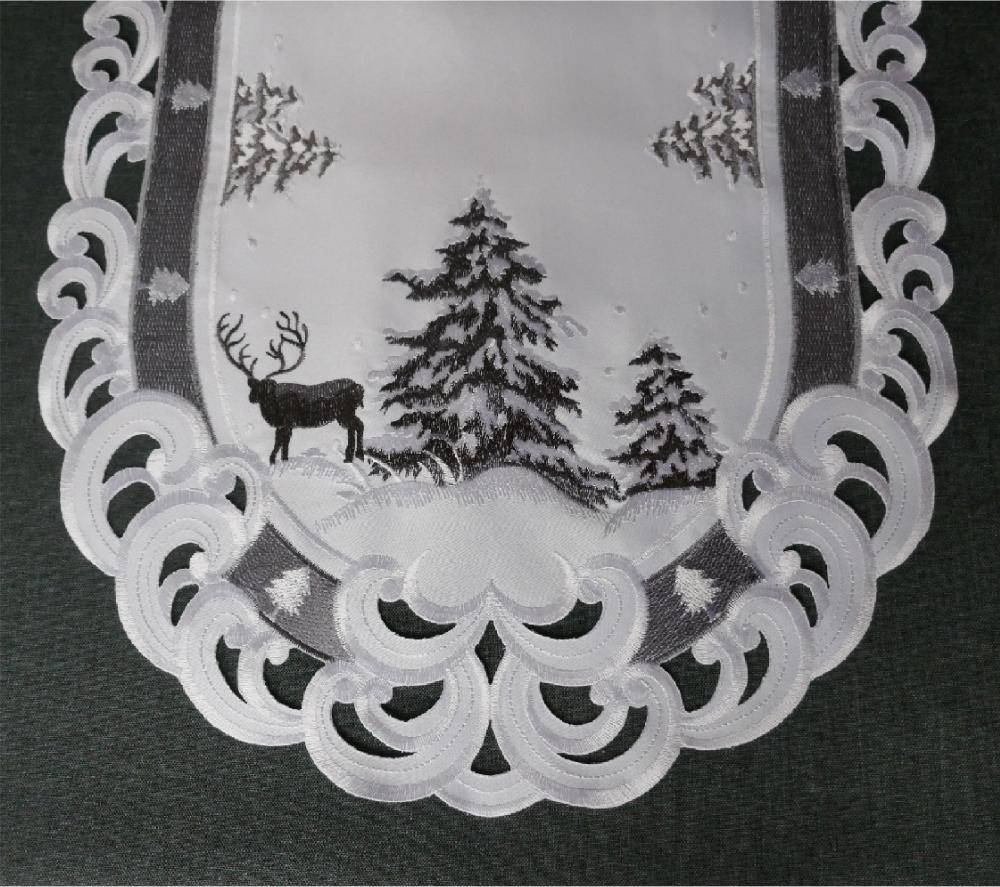 TANNENBAUM HIRSCH 45x170 cm Tischläufer Weiss Grau Stickerei