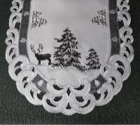 TANNENBAUM HIRSCH 28x160 cm Tischläufer Weiss Grau Stickerei