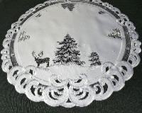 TANNENBAUM HIRSCH Rund 60 cm Tischdecke Weiss Grau Stickerei