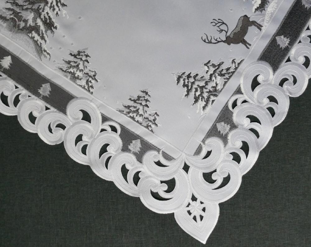 TANNENBAUM HIRSCH 85x85 cm Tischdecke Weiss Grau Stickerei