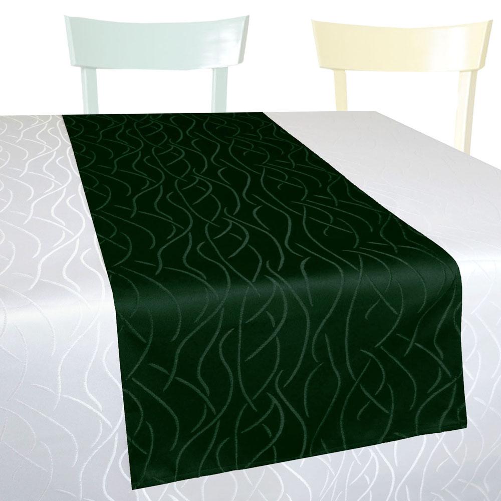 WELLEN Streifen Tischläufer Gerade 40x140 DUNKEL-GRÜN Einfach genäht