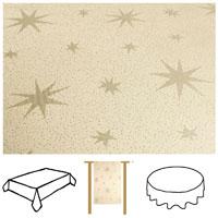 LUREX STERNE Creme-Gold Eckig 110x140 Tischdecke Weihnachten
