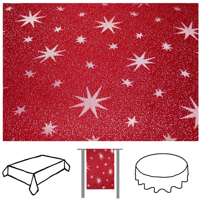 LUREX STERNE Rot-Silber Eckig 130x260 Tischdecke Weihnachten