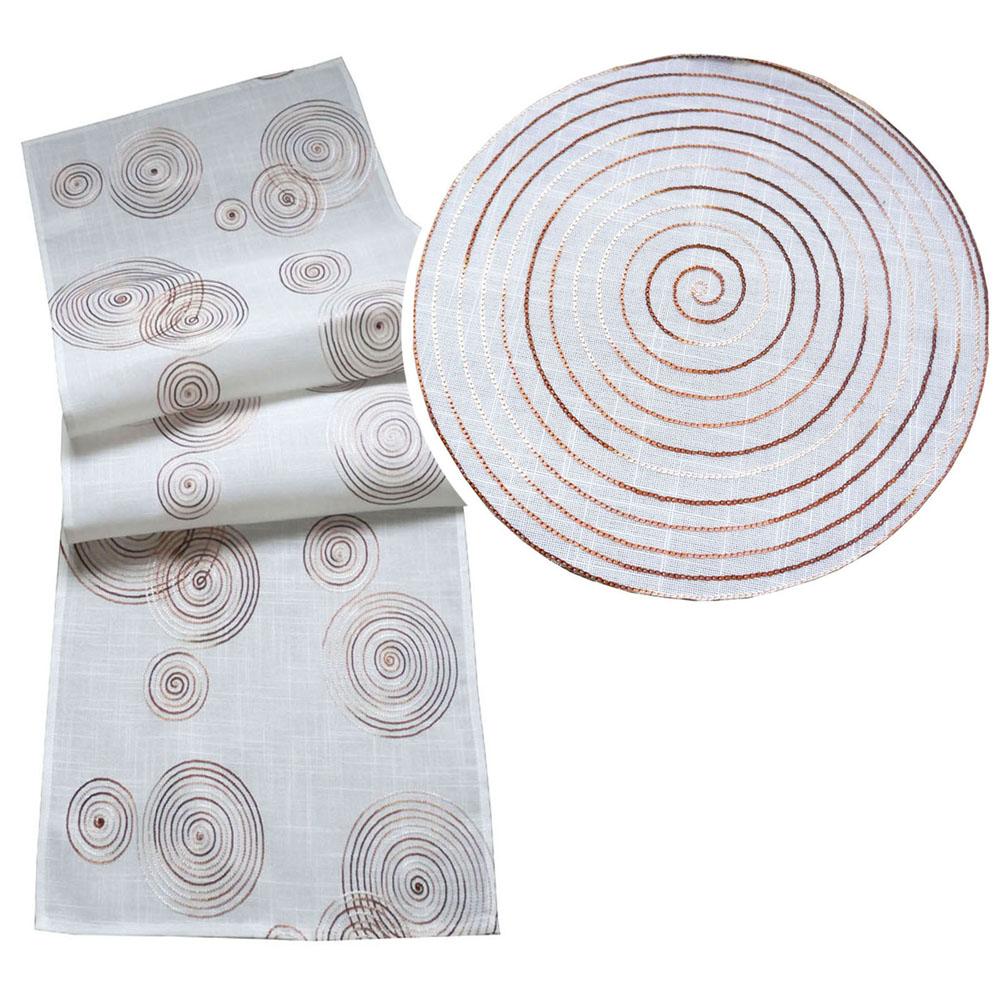 KREISE Stickerei CREME Leinenoptik Tischläufer Aufleger Deckchen