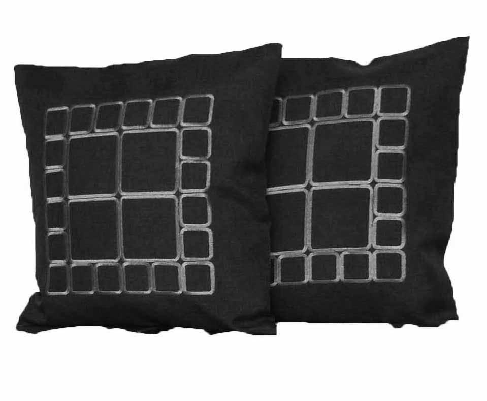 Quadrate Leinen Optik DUNKEL-GRAU 2 St. Kissenhülle 40x40 Kissen