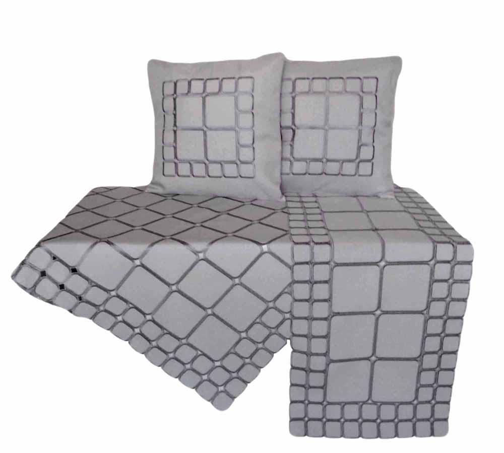 Quadrate Leinen Optik HELL-GRAU 2 St. Kissenhülle 40x40 Kissen