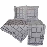 Quadrate Leinenoptik Hellgrau Stickerei Mitteldecke Kissen Tischläufer